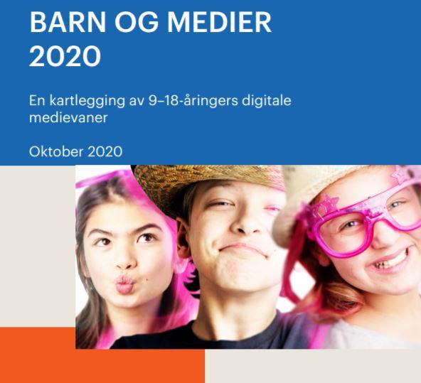 Utsnitt frå Medietilsynet, rapport om barn og medier frå oktober 2020